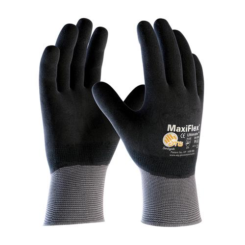 PIP 34-876 MaxiFlex Ultimate Seamless Knit Nylon / Lycra Glove with Nitrile Coated MicroFoam Grip on Full Hand - Box/12 Pairs
