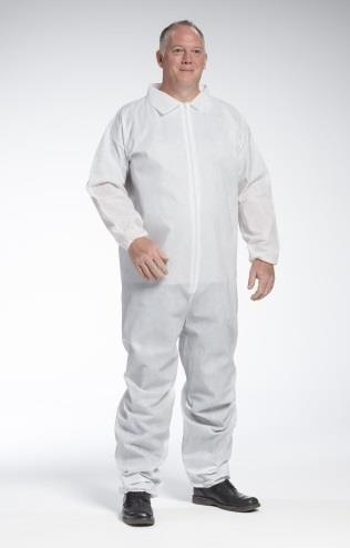 West Chester 3402 PE Laminate - White Poly/PE/Poly Coverall, zipper front w/Elastic Wrist and Ankle - Case/25