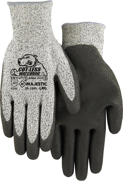 Majestic 35-1305 Cut-Less Watchdog Gloves, HPPE 13 Gauge Seamless Knit, Polyurethane Palm Dipped, ANSI Cut Level 2, Box/12 Pairs