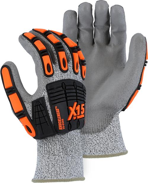 Majestic 35-5305 Knucklehead X-15 Cut Resistant Gloves, HPPE Shell, PU Coated Palm, Impact resistant, ANSI Cut Level A2, Box/12 Pairs