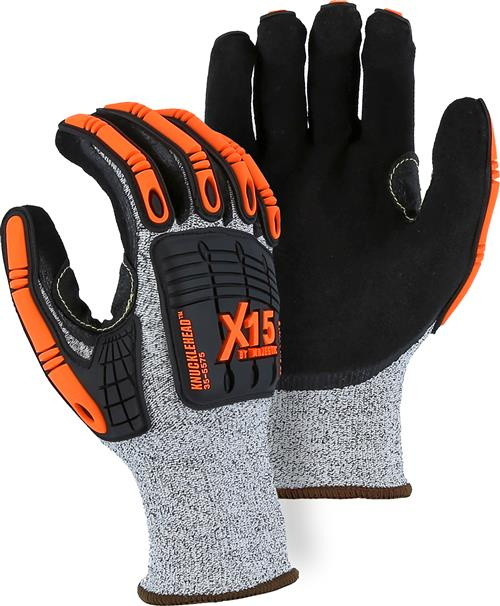 Majestic 35-5575 Knucklehead X-15 Cut Resistant Gloves, HPPE, Black Oil / Waterproof, Double Sandy Nitrile Coating, Impact resistant, ANSI Cut Level 4, Box/12 Pairs