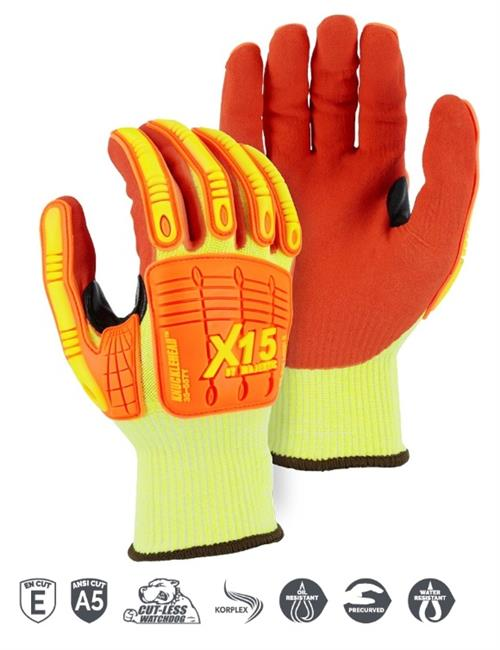 Majestic 35-557Y Knucklehead X-15 Cut Resistant Gloves, Double Sandy Nitrile Palm Coating, Water & Oil Proof, Impact Resistant, ANSI Cut Level 4, Box/12 Pairs