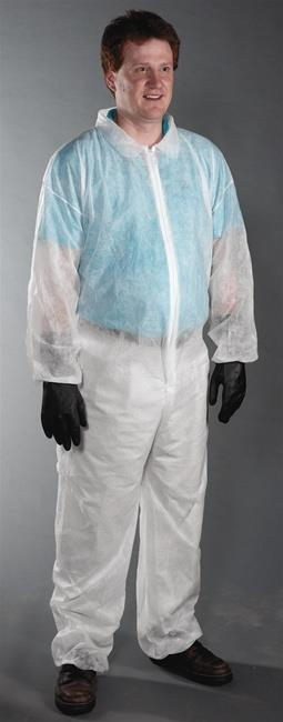 West Chester 3502, Spunbond Polypropylene Coveralls, Standard Weight, Zipper Front, Elastic Wrist & Ankle, Collar