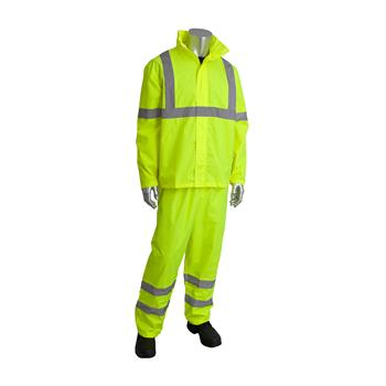 afetyGear by PIP 353-1000LY ANSI Type R Class 3 Two-Piece Value Rain Suit Set, Waterproof PU Coated, Hi Vis Yellow