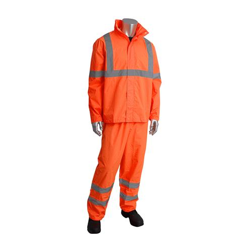 PIP Falcon Viz 353-1000OR ANSI Type R Class 3 Two-Piece Value Rain Suit Set, Waterproof PU Coated, Hi Vis Orange