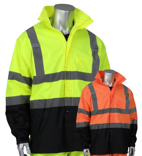 PIP 353-1200 Falcon Viz ANSI Type R Class 3 Ripstop Hi Vis All-Purpose Waterproof Jacket with Black Bottom, PU Coated, HI Vis Yellow or Hi Vis Orange