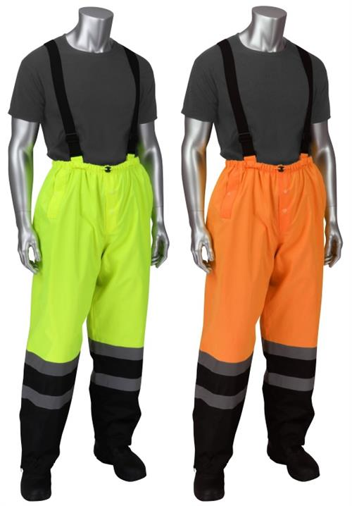 PIP 353-1202 Falcon Viz Class E Waterproof Ripstop Rain Pants, Black Bottom, Removable Suspenders, Hi Vis Yellow or Hi Vis Orange