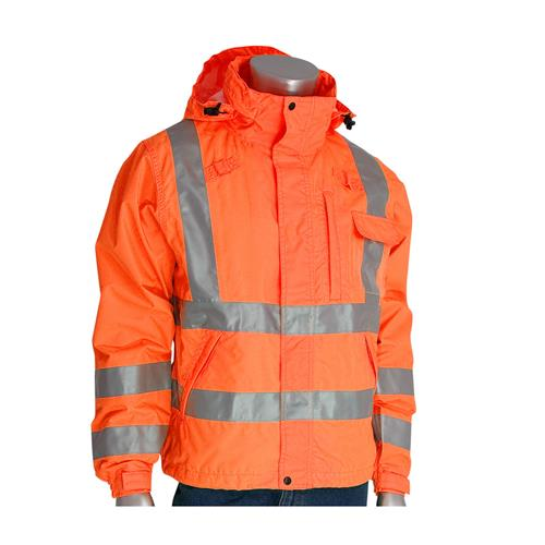 PIP 353-2000 VisPLUS ANSI Type R Class 3 Hi Vis Orange Waterproof Breathable Rain Jacket / Windbreaker
