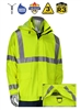PIP 355-2500AR Falcon VisAR AR/FR ANSI Type R Class 3 Heavy Duty Waterproof Breathable Jacket, NFPA 70E, D-Ring Access, Hi Vis Lime Yellow
