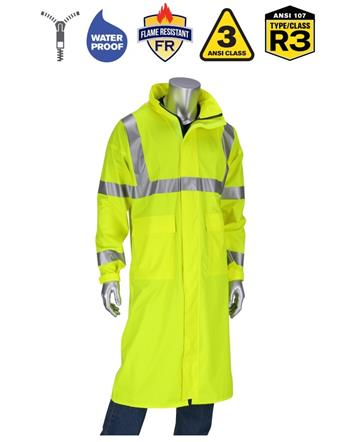 "PIP 355-2505AR Falcon VisAR AR/FR ANSI Type R Class 3 Value All Purpose 48"" Raincoat, NFPA 70E, Hi Vis Lime Yellow"