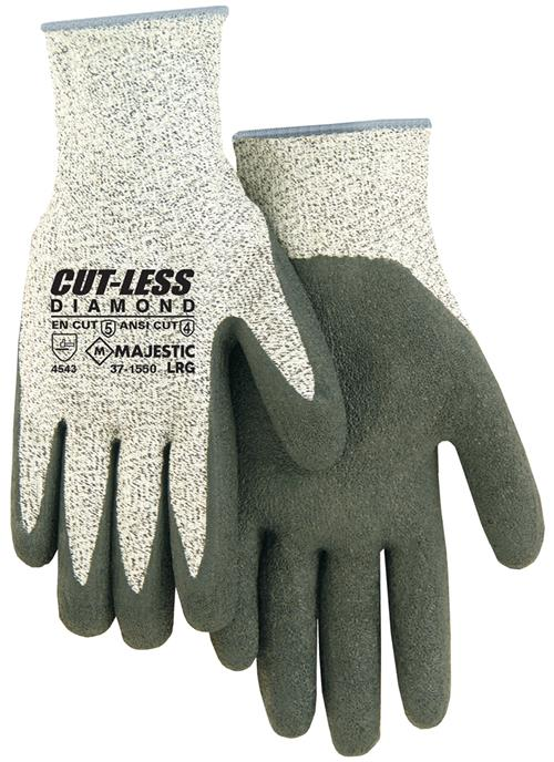 Majestic 37-1550 Cut-Less Diamond Cut Resistant Gloves Made with Dyneema Latex Coating - Box/12 Pairs