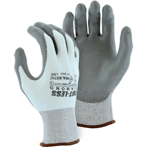 Majestic 37-3436 Cut-Less Dyneema Diamond Cut Resistant Gloves, 13 Gauge Seamless Knit, Gray Polyurethane Coated Palm, Box/12 Pairs