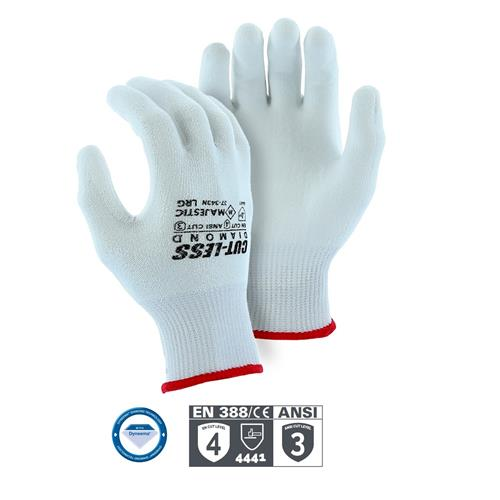Majestic 37-343N Dyneema Cut-Less Diamond Cut Resistant Gloves, 13 Gauge Knit, White Polyurethane Palm Coated, ANSI Cut Level 3, Box/12 Pairs