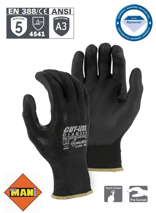 Majestic 37-3565 Dyneema Cut-Less Diamond Cut Resistant Gloves, 15 Gauge Seamless Knit, Foam Nitrile Coated Palm, ANSI Cut Level 3, Black, Box/12 Pairs