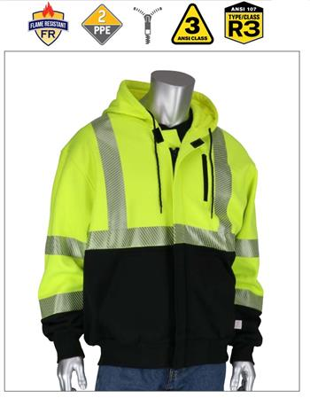 PIP 385-1370FR ANSI Type R Class 3 AR/FR Full Zip Hooded Sweatshirt, 19.2 Cal, NFPA 70E, Hi Vis Yellow, Black Bottom