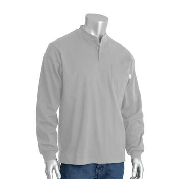 PIP 385-FRHN Fire Resistant Long Sleeve Henley FR / AR Shirt, 6.5 oz 100% Cotton Interlock Knit, 11.8 Cal, 70E, HRC2, 2112, 1 Chest Pocket