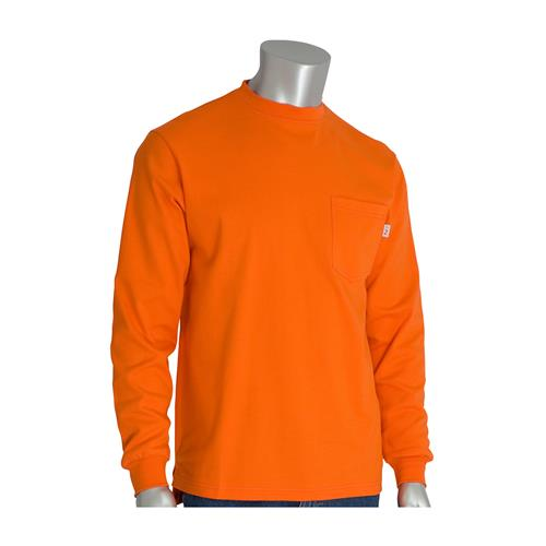 PIP 385-FRLS Fire Resistant Long Sleeve Crew FR / AR Shirt, Orange