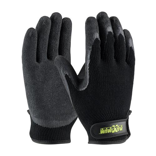 PIP 39-C1375 Maximum Safety Seamless Knit Cotton / Polyester Glove with Latex Coated Crinkle Grip on Palm & Fingers - Hook & Loop Closure - Box/12 Pairs