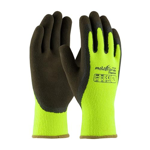 PIP 41-1405 PowerGrab Thermo Hi-Vis Seamless Knit Acrylic Terry Glove, Thermal Insulate, Latex MicroFinish Grip on Palm & Fingers- Box/12 Pairs