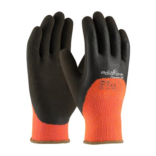 PIP 41-1475 PowerGrab Thermo Hi-Vis Seamless Knit Acrylic Terry Glove, Thermal Insulated, Latex MicroFinish Grip on Palm, Fingers & Knuckles- Box/12 Pairs
