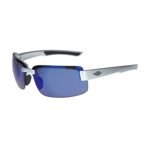 Crossfire ES6 Premium Safety Eyewear, 442208 - Blue Mirror Lens, Silver Gloss Frame, Box/12