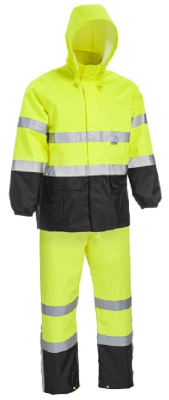 West Chester 4530 Class 3 Color Blocking Rain Suit, Hi Vis Lime, Black Bottom, 3 Pc Set, Poly Oxford with PU Backing