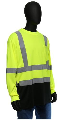 West Chester 47410 Hi Vis Class 3 Birdseye Mesh Color Block Long Sleeve T-Shirt, Hi Vis Lime Green, Black Bottom