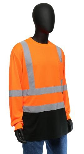 West Chester 47411 Hi Vis Class 3 Birdseye Mesh Color Block Long Sleeve T-Shirt, Hi Vis Orange, Black Bottom