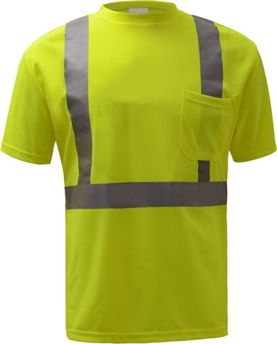 GSS Safety 5001 Standard Class 2 Moisture Wicking Short Sleeve Safety T-Shirt with Chest Pocket - Lime