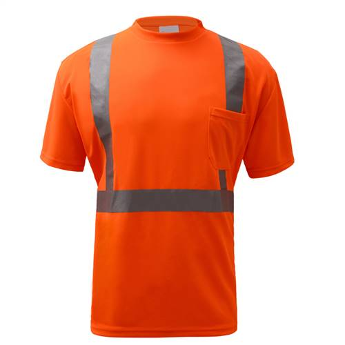 GSS Safety 5002 Standard Class 2 Moisture Wicking Short Sleeve Safety T-Shirt with Chest Pocket - Orange