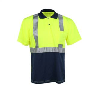 GSS Safety 5003 Class 2 Moisture Wicking Polo Shirt - Navy Bottom-Lime