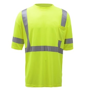 GSS Safety 5007 Class 3 Moisture Wicking Short Sleeve Safety T-Shirt with Chest Pocket - Lime