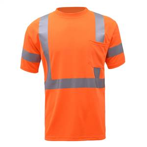 GSS Safety 5008 Class 3 Moisture Wicking Short Sleeve Safety T-Shirt with Chest Pocket - Orange