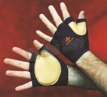 "IMPACTO 502-20 Fingerless Impact Tool Grip Glove, Nylon Lycra & Grain Leather with Viscolasâ""¢ VEP Padded Palm/Web"