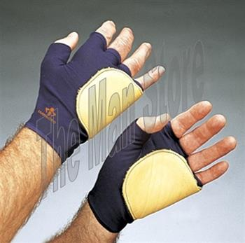 "IMPACTO 503-20 Fingerless Anti-Impact Glove, Nylon Lycra & Grain Leather with Viscolasâ""¢ VEP Padded Palm/Side/Back"