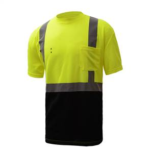 GSS Safety 5111 Standard Class 2 Short Sleeve Safety T-Shirt  with Black Bottom and Sliver Tape - Lime