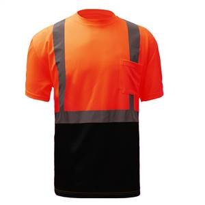 GSS Safety 5112 Standard Class 2 Short Sleeve Safety T-Shirt  with Black Bottom and Sliver Tape - Orange