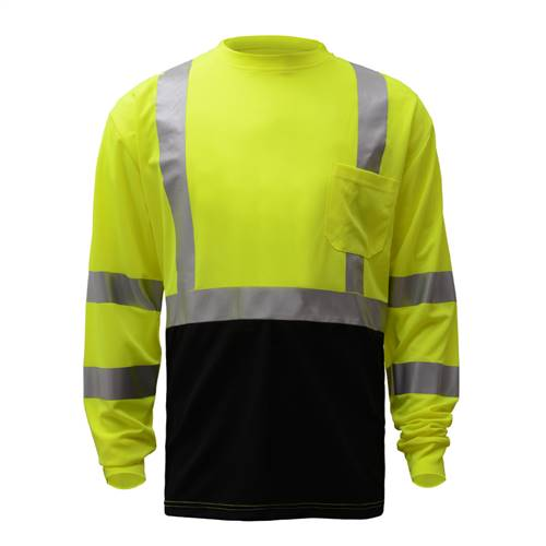 GSS Safety 5113 Class 3 Long Sleeve T-Shirt with Black Bottom - Lime