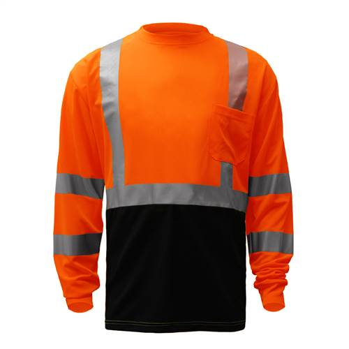GSS Safety 5114 Class 3 Long Sleeve T-Shirt with Black Bottom - Orange