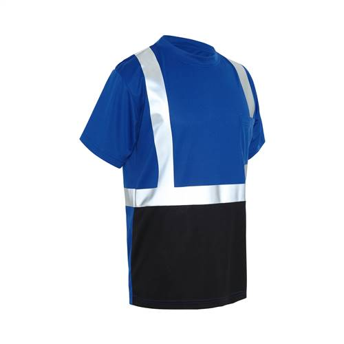 GSS Safety 5123 NON-ANSI Multi Color Short Sleeve Safety T-shirt with Black Bottom - Blue