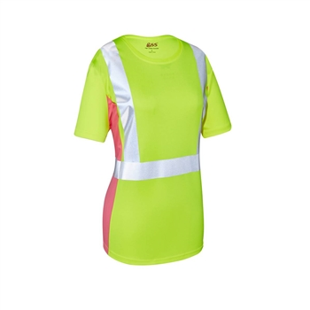 GSS Safety 5125 Class 2 Lady Short Sleeve T-shirt Lime with Pink Side