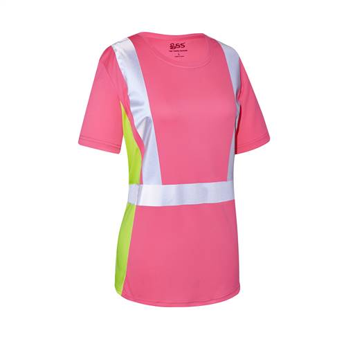 GSS Safety 5126 Non-ANSI Lady Short Sleeve T-shirt Pink with Lime Side