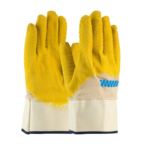 PIP 55-3253 Armor Latex Coated Glove with Canvas Liner and Crinkle Finish on Palm, Fingers & Knuckles - Rubberized Safety Cuff - Box/12 Pairs