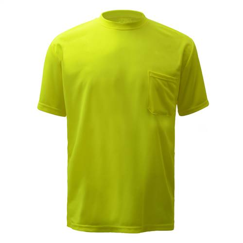 GSS Safety 5501 Moisture Wicking Short Sleeve Safety T-Shirt with Chest Pocket - Lime