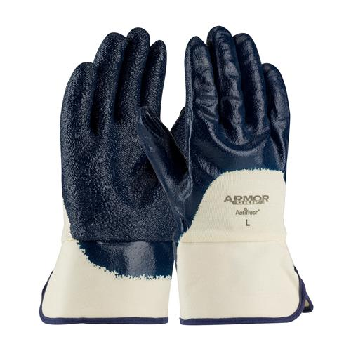 PIP 56-3145 ArmorGrip Nitrile Dipped Glove with Terry Cloth Liner and Heavy Weight Rough Grip on Palm, Fingers & Knuckles -  Plasticized Safety Cuff - Box/12 Pairs