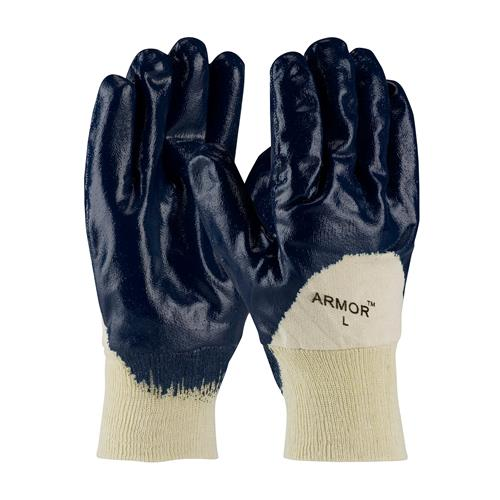 PIP 56-3151 ArmorTuff Nitrile Dipped Glove with Jersey Liner and Smooth Finish on Palm, Fingers & Knuckles - Knitwrist - Box/12 Pairs