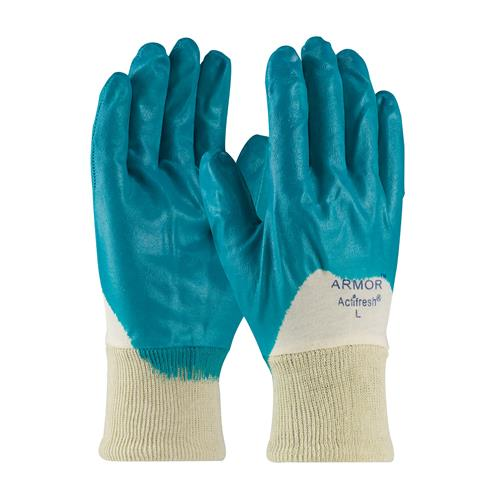 PIP 56-3180 ArmorFlex Nitrile Dipped Glove with Interlock Liner and Smooth Finish on Palm, Fingers & Knuckles - Knitwrist - Box/12 Pairs