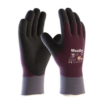 PIP 56-451 MaxiDry Zero Seamless Knit Nylon/Lycra Glove, Double-Dipped Nitrile Coated MicroFoam Grip Full Hand, Box/ 6 Pairs