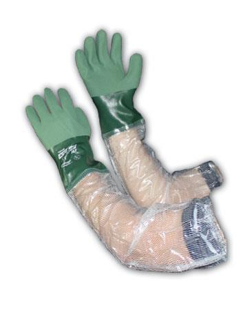 "PIP 56-AG567 ActivGrip Nitrile Coated Glove with Cotton Liner and MicroFinish Grip - 25"" Clear PVC Arm - Box/12 Pairs"
