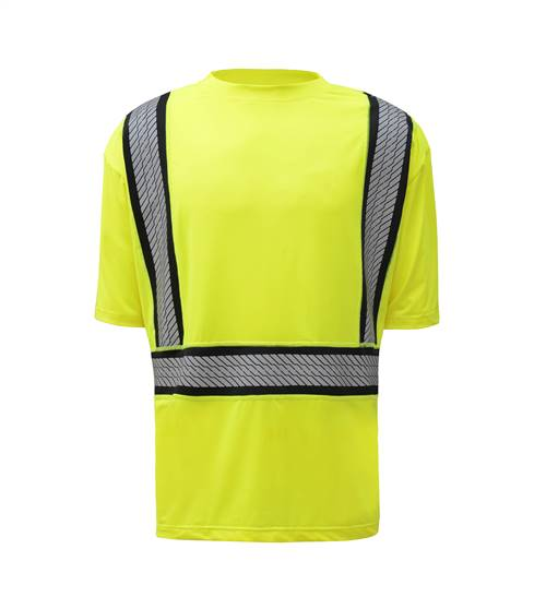 GSS Safety 5701 Class 2 Onyx Two-Tone Anti-Snag T-Shirt w/Segment Tape-Lime